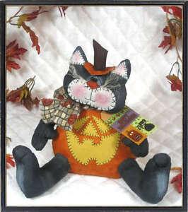 ~Primitive Halloween Black Pumpkin Cat PATTERN #327~