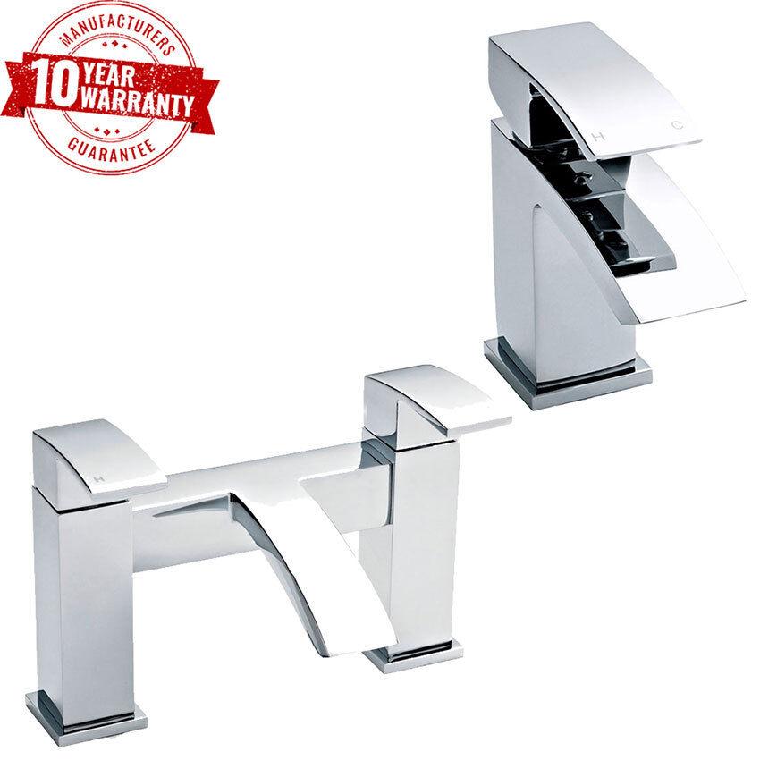 LUSSO PONTE moderno montato Chrome rubinetto lavabo & bagno Filler Tap CURVO Beccuccio  C