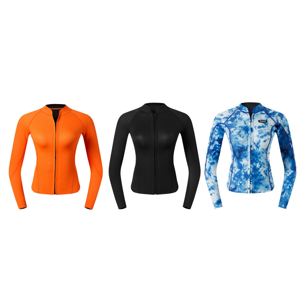 Wohombres Wetsuit Top, 2mm Neoprene Warm Jacket Long Sleeve Front Zipper Shirt