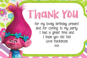 Personalised Poppy Trolls Birthday Party Thank You Cards ...