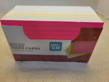 200ct Ruled Index Cards Neon Color Pen Amp Gear 3x 5 Heavyweight Brand New