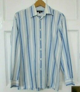 Mens-Hope-amp-Glory-blue-white-stripe-Shirt-Size1-Exc-Condition