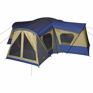 Image is loading Ozark-Trail-Base-C&-14-Person-Cabin-Tent-  sc 1 st  eBay & Ozark Trail Base Camp 14 Person Cabin Tent 3 Room Family Camping ...