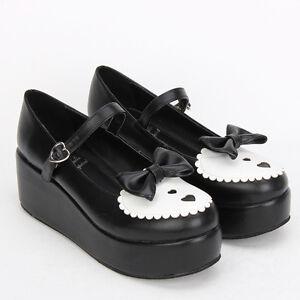 Schwarz Gothic Goth Punk Lolita Bow Bogen Damen Schuhe Pumps Plateau