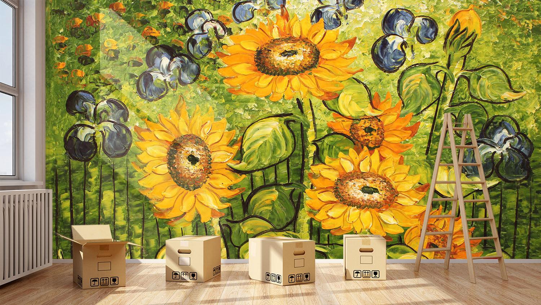 Papel Pintado Mural Paisaje De Vellón Girasol Óleo Pintura 233 Paisaje Mural Fondo De Pantalla 0f5ff9