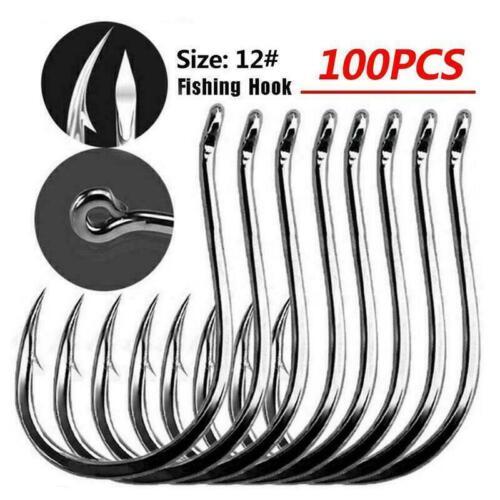 100Pcs Fishing Hooks Jig Big Hook High Carbon Steel Bait Holder Fishhooks Y8S6