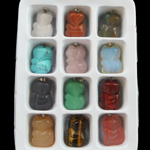 12pcs Carved Mixed Shape Gemstone Pendant Bead