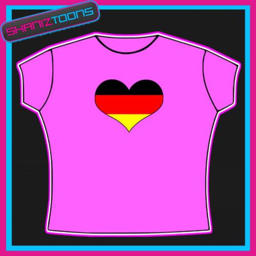 GERMANY GERMAN FLAG HEART SHAPED I LOVE T-SHIRT
