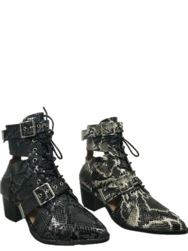 LADIES WOMEN LACE UP BUCKLES SNAKE PRINT STYLISH SMART TRENDY ANKLE BOOTS