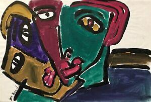 Alain-Michel-Boucher-Pittura-Originale-Guazzo-Coppia-4