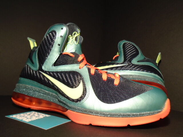 Nike Air Max LEBRON IX 9 CANNON VOLT GREEN GREEN VOLT SLATE BLUE ORANGE 469764-004 NEW 9.5 190506