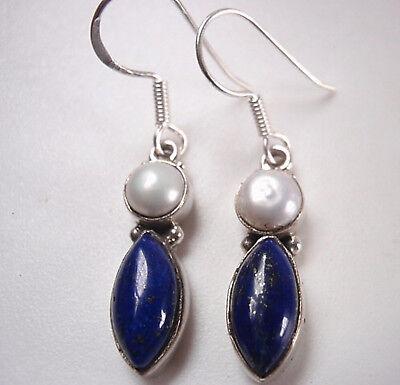 Cultured Pearl /& Amethyst Marquise 925 Sterling Silver Earrings Corona Sun