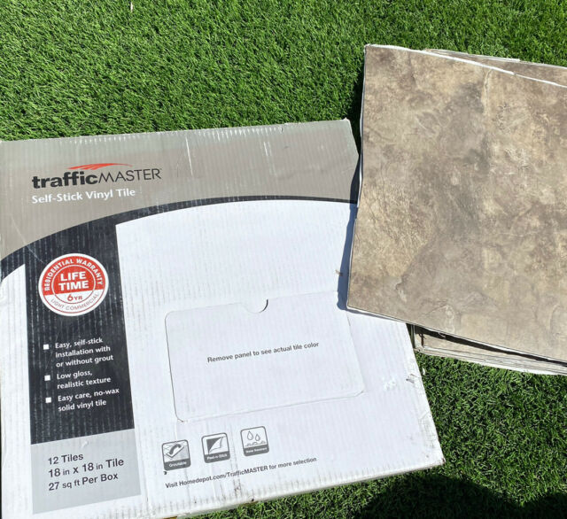 27 Sq Ft Trafficmaster Chestnut Blended Slate 18 X18 Peel And Stick Vinyl Tile For Sale Online
