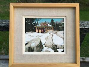 Original-Mitchell-Fenton-Oil-painting-Cottage-Winter-Scene