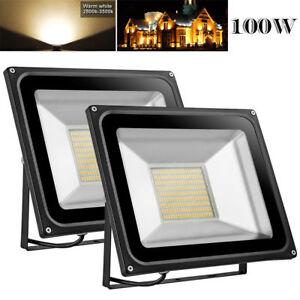 2X-100W-LED-Flood-Light-Warm-White-Outdoor-Landscape-Spot-Lamp-Floodlights-IP65
