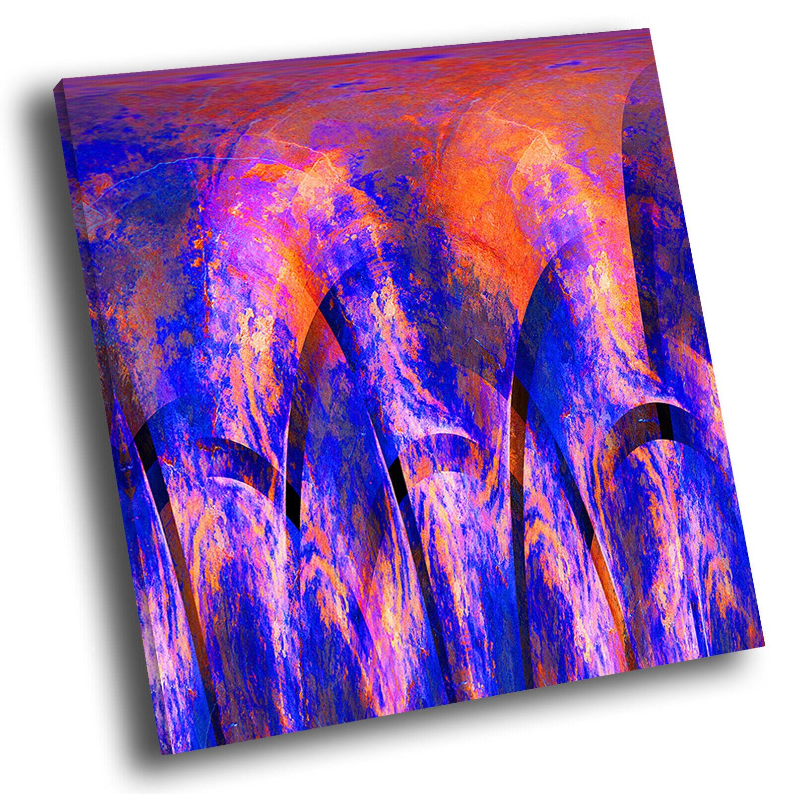 Retro Blau Orange  Square Abstract Photo Canvas Wall Art Large Picture Prints