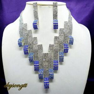 Austrian Sapphire Blue Rhinestone Crystal Bridal Necklace Earrings Set S1580N