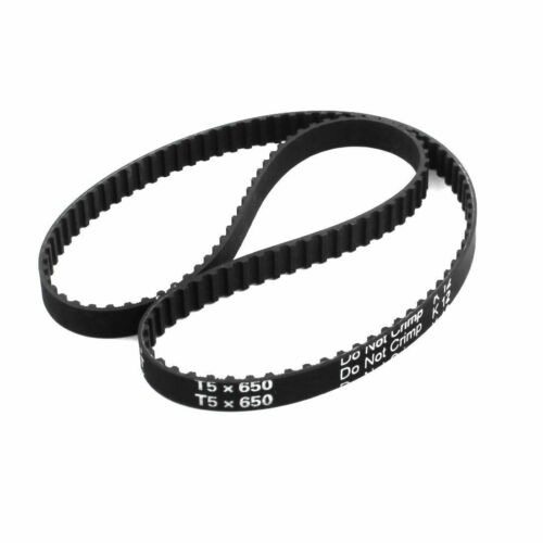 """T5x650 130-Tooth 10mm Width Black Rubber Groove Timing Belt 25.6/"""" for 3D Printer"""