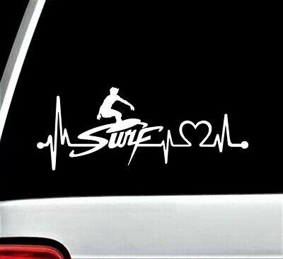 Surfing Heartbeat Lifeline Decal Sticker for Car Wakeboard Surfboard Surf BG 517