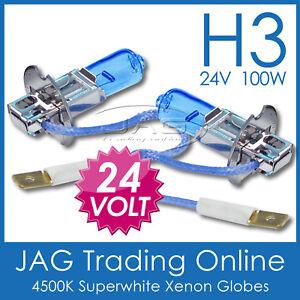 24V H3 100W XENON WHITE 4500K HEADLIGHT BULBS - Truck/Bus/Caravan/RV Globes