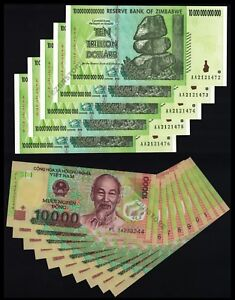 20 x 10,000 UNC VND Vietnam Dong Banknotes Currency Lot 1//5th Million 10000