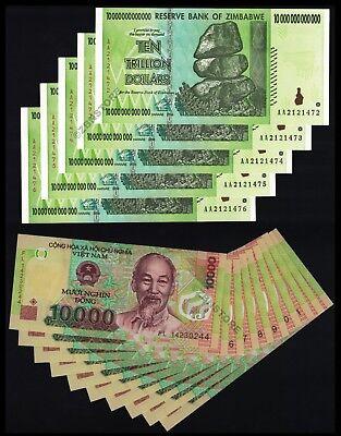 10000 25 x 10,000 Vietnam Dong Banknotes Currency Lot ¼ Million UNC VND 25PCS