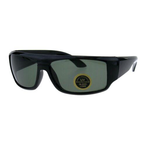 Impact Resistance Glass Lens Sunglasses Mens Biker Rectangular Wrap Frame Black