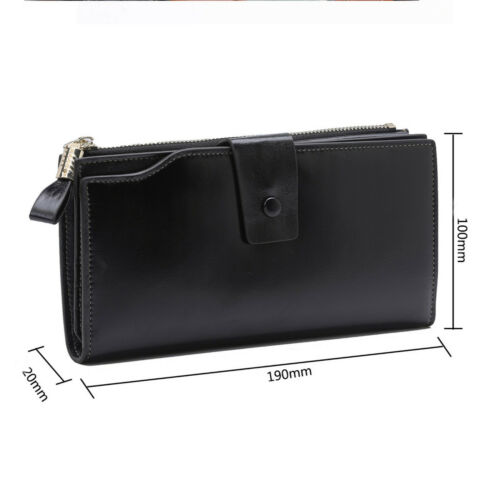 Women/'s RFID Block Genuine Oil Waxed Leather Large Capacity Zipper Clutch Wallet