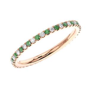 2mm-Round-Cut-Diamonds-amp-Emeralds-Prong-Set-Full-Eternity-Ring-in-9K-Rose-Gold