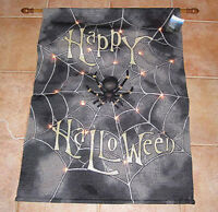 Happy Halloween Spooktacular Spider Web Tapestry Wall Hanging W/lights