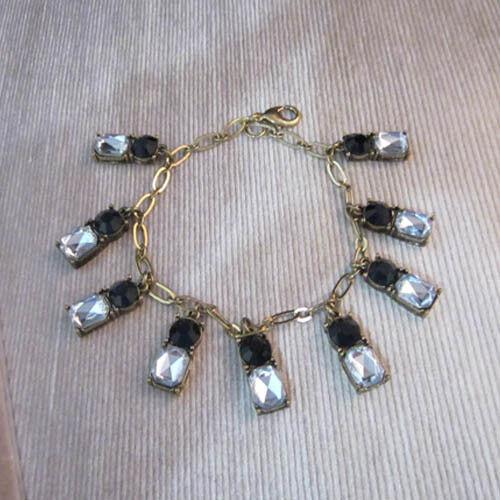 NEW Urban Anthropologie Eba Black and White Gemmed Dangler Rustic Bracelet