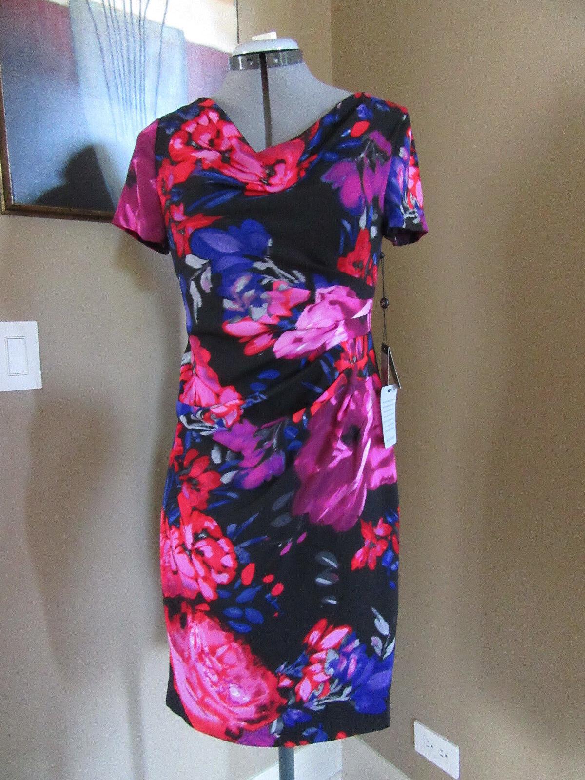 NWT Adrianna Papell Multi Farbe Floral Pleat Crepe Sheath Dress Größe Petite 8