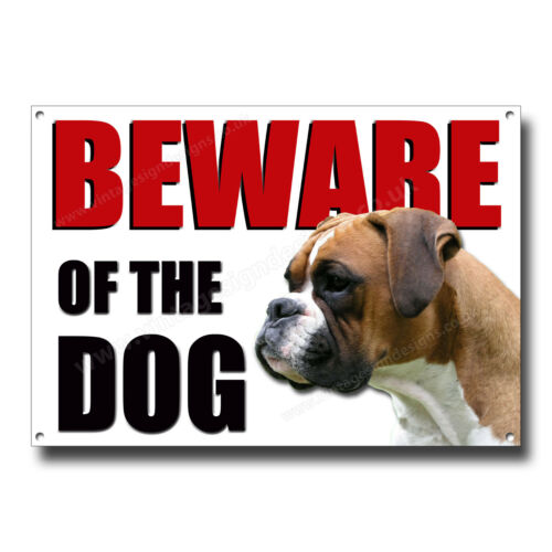 BOXER BEWARE OF THE DOG METAL SIGN,SECURITY,WARNING,GUARD DOG SECURITY SIGN.