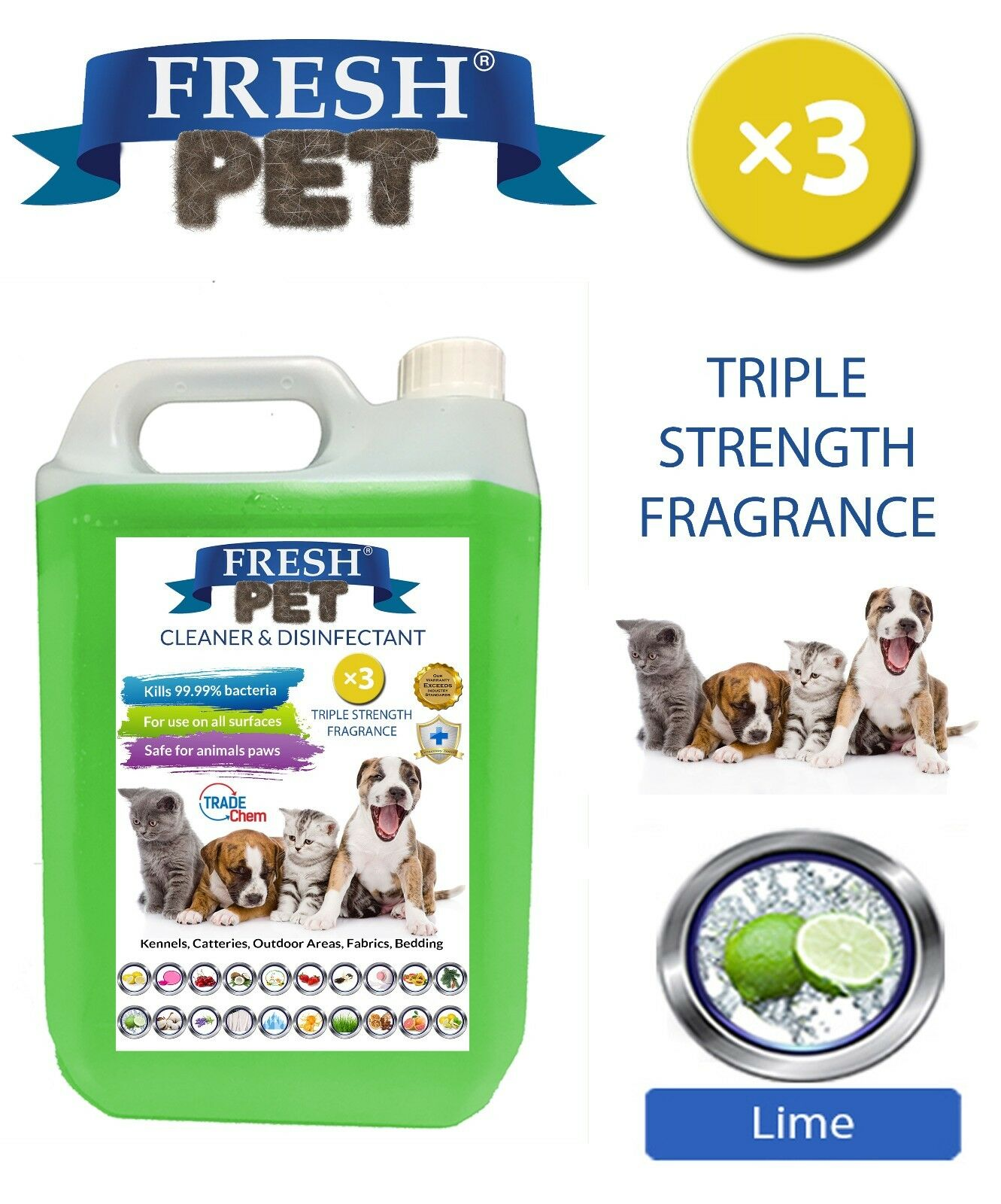 Fresh Pet Kennel Cane Disinfettante Tripla Vigore Fragranza  5L Lime