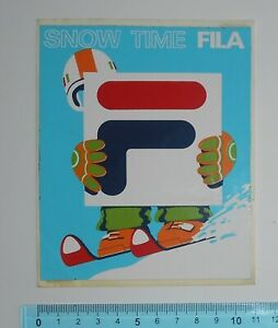 ADESIVO-VINTAGE-STICKER-FILA-SNOW-TIME-ANNI-039-80-11x13-5-cm-BELLO-E-RARO