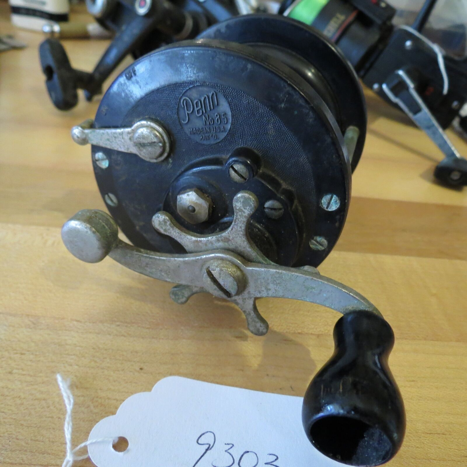 Vintage Penn 85 fishing pat. D fishing 85 reel with vintage tension knob attachment ( 9303) 01ed49