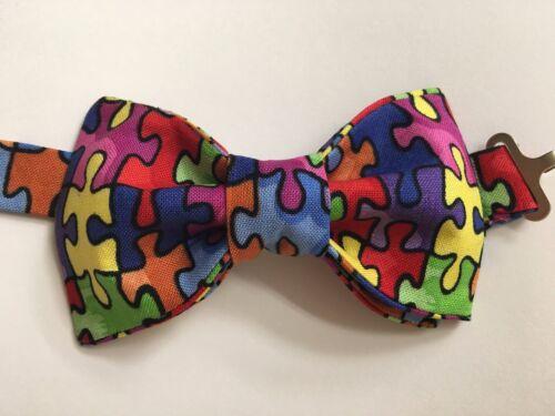 Custom Mens /& Kids Puzzle Autism Bow Tie Pre-tied Adjustable Handmade Colorful