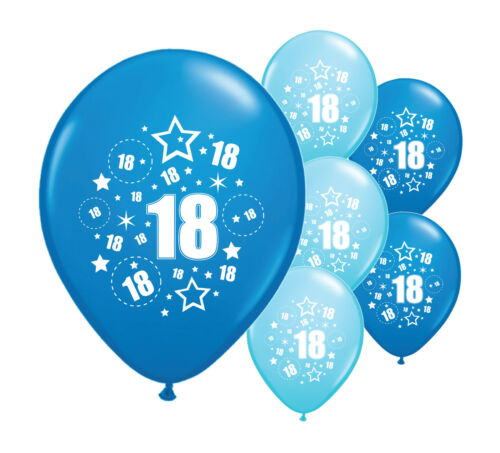 """PA 20 x 18TH BIRTHDAY BLUE MIX 12/"""" HELIUM OR AIRFILL BALLOONS"""