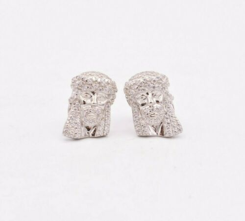 Jesus Head Cubic Zirconia CZ Micro Pave Screw Back Stud Earrings Sterling Silver