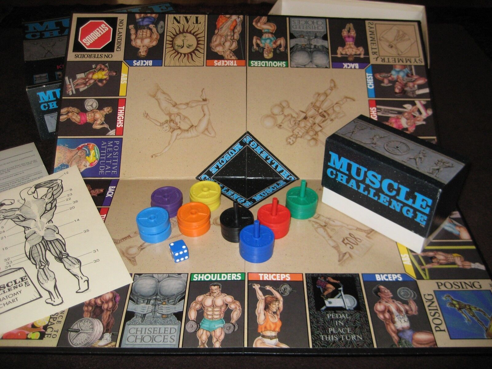 MUSCLE CHALLENGE Bodybuilding Knowledge & Trivia Board Game COMPLETE  Excellent
