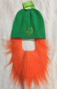 St. Patricks Day Costume Green Leprechaun Shamrock Beanie Hat And Beard