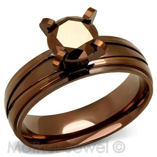 RARE COFFEE CUBIC ZIRCONIA BROWN IP STAINLESS STEEL ENGAGEMENT WEDDING RING