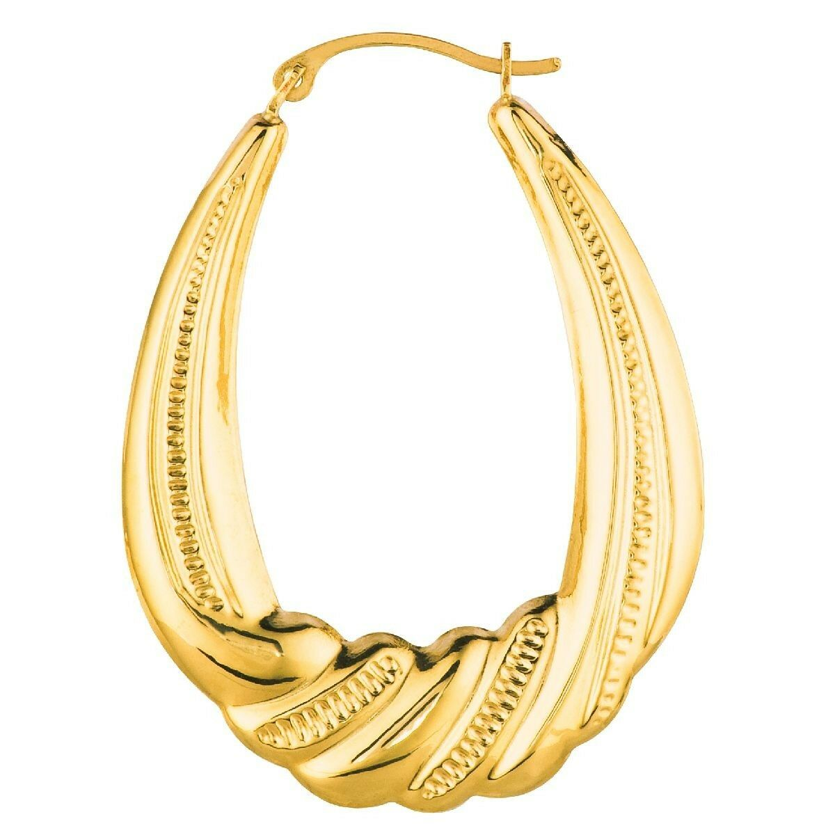 Graduated Twisted Textured Oval Hoop Earrings Real 14K Yellow gold