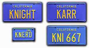 Knight-Rider-Trans-Am-4-PLATE-Metal-Stamped-Replica-Prop-License-Plate-Combo