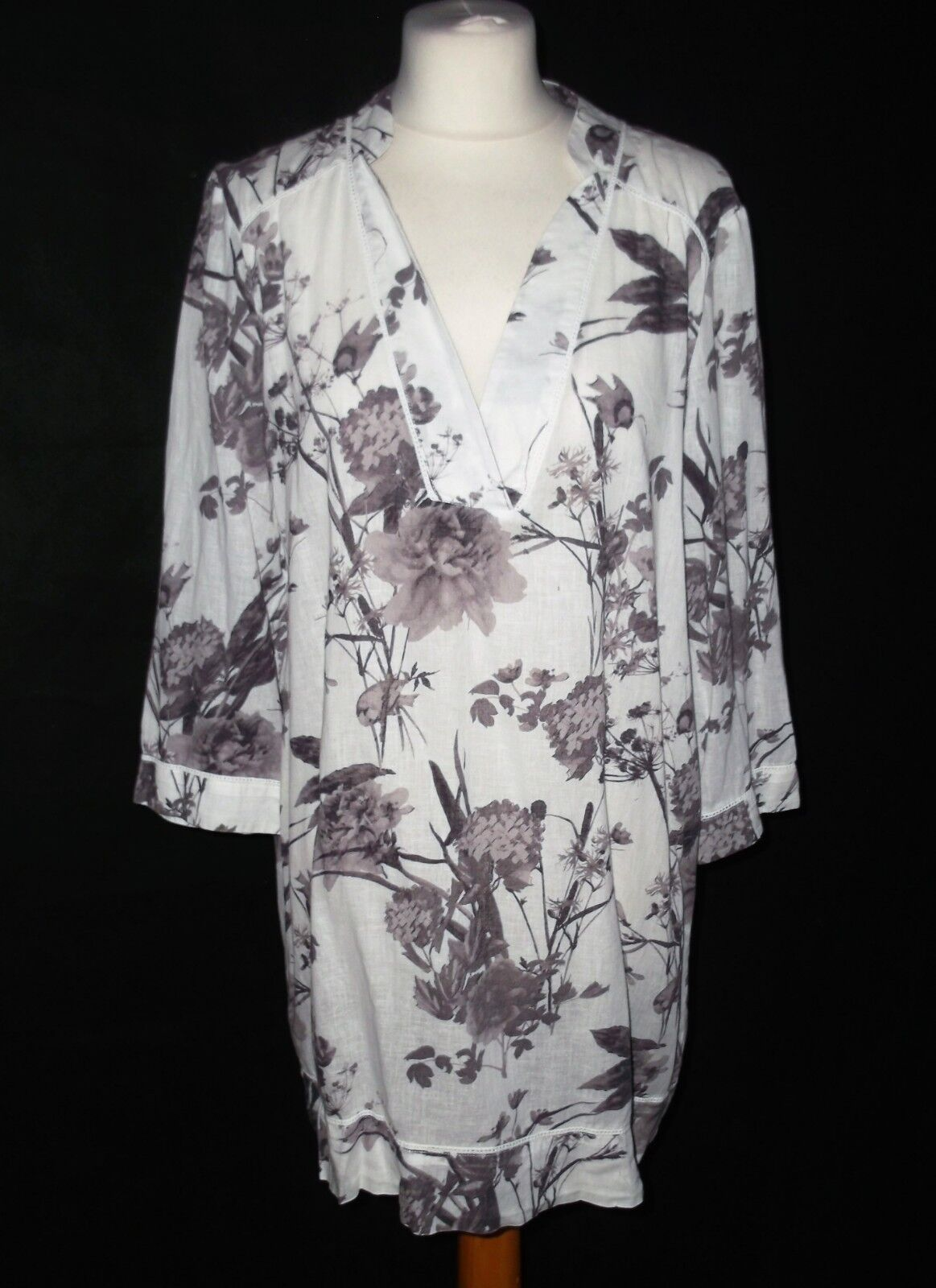 PHASE EIGHT linen cotton long tunic top with pretty print 12