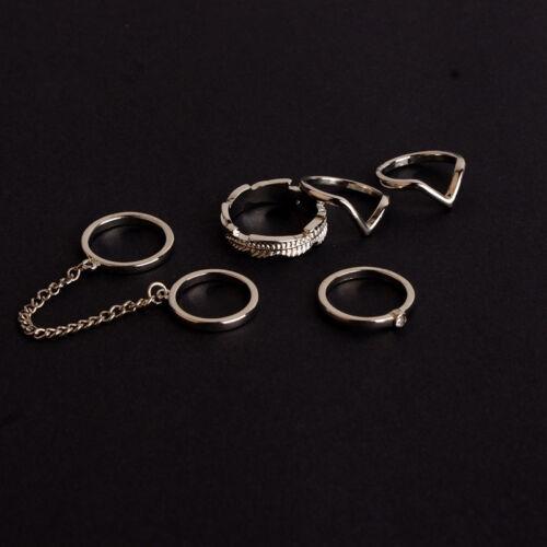 6x Women/'s Stacking Punk Rings Shiny Middle Finger Ring Set New Fashion Jewe xl