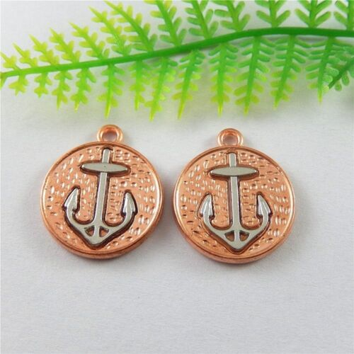 51486 Rose Gold Tone Alliage Argent Ancre Look Charms Findings Jewelry Crafts 10x