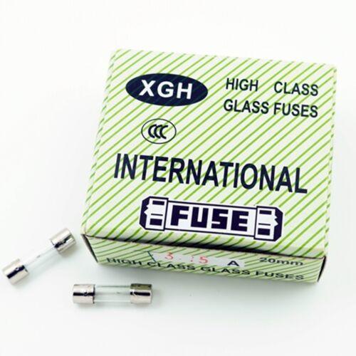 SLOW BLOW 100 pcs Glass Fuses 5T 3C 3.15A T3.15A 5x20mm DELAY ACTING