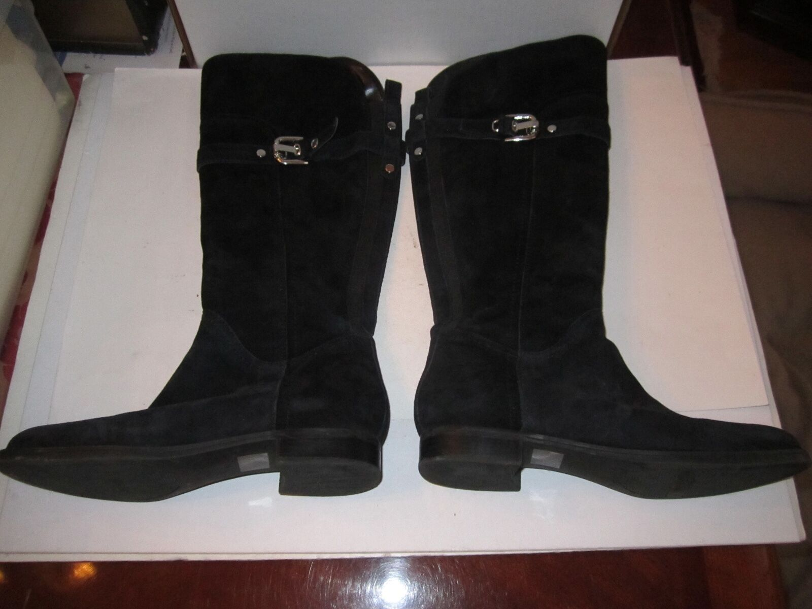 MARC FISHER BLACK SUEDE BOOTS - 16