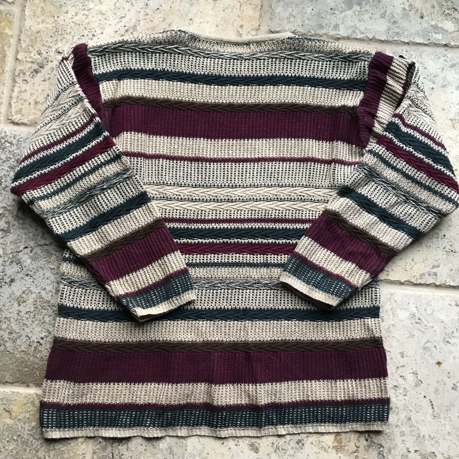 Vintage Textured Striped Knit Abstract Sweater - image 4
